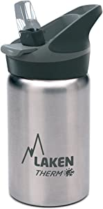 Laken Thermo Kids Vacuum Insulated Stainless Steel Leak Free Sports Water Bottle with Jannu Straw Cap, 12 oz