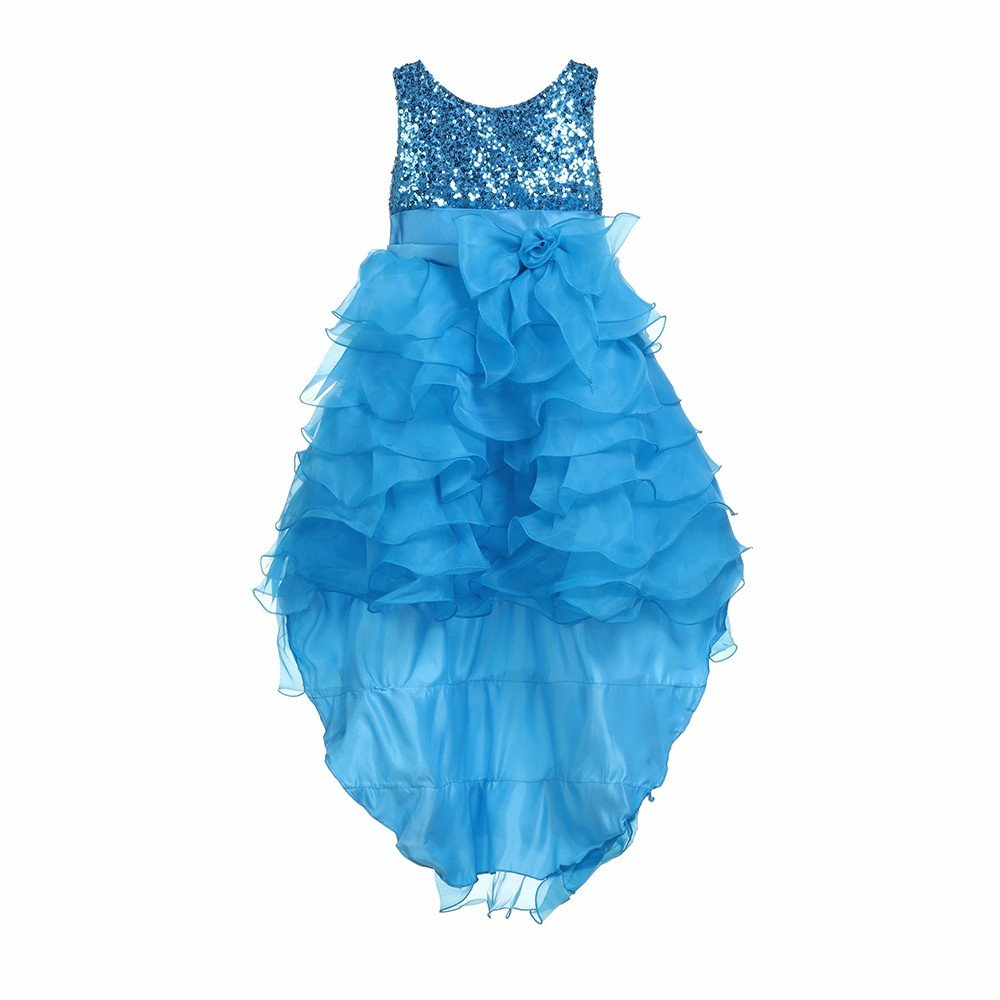 MOMKER 3-14yrs Baby Girls Sequined Flower Party Dress Princess Dress Children Kids Clothes 9 Colors Blue by MOMKER