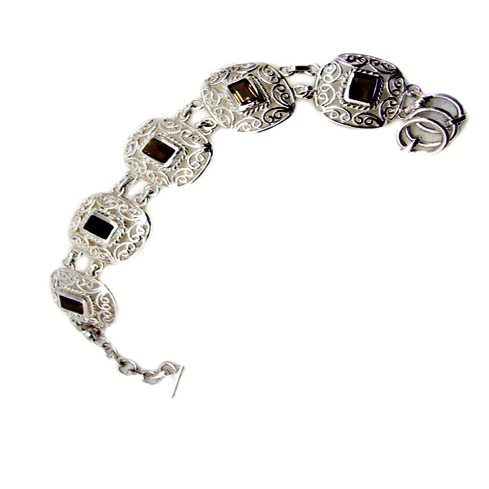 Jewelryonclick Genuine Emerald Cut Smoky Quartz 925 Sterling Silver Vintage Style Bracelet For Gift Length 6.5-8 Inches