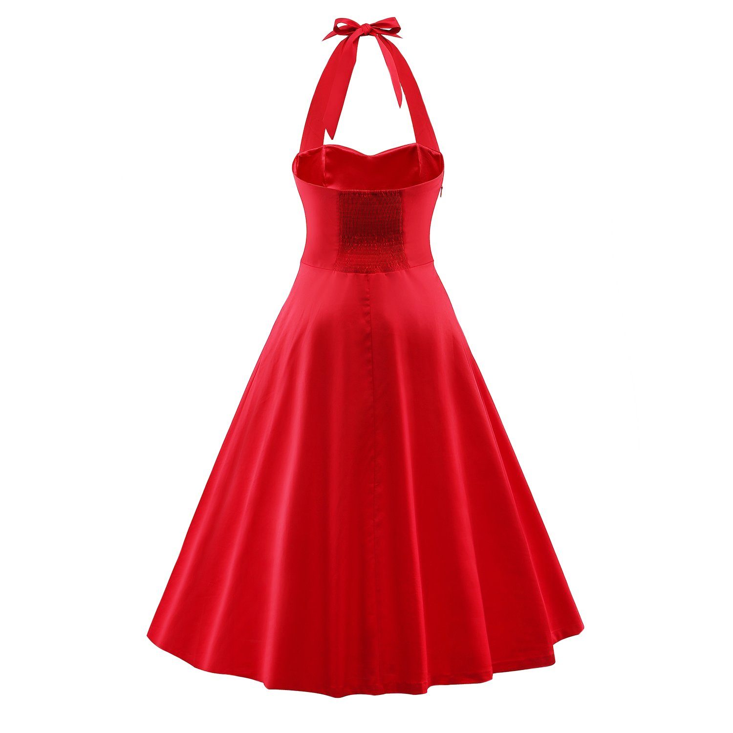 244a76ac5a Tecrio Vintage 1950 s Marilyn Monroe Style Rockabilly Halter Party Swing  Dress at Amazon Women s Clothing store