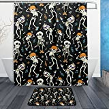 "Funny Dancing Skeletons Skulls Party Halloween Music Disco Waterproof Polyester Fabric Shower Curtain (60"" x 72"") Set with 12 Hooks and Bath Mats Rugs (23.6"" x 15.7"") for Bathroom - Set of 2"