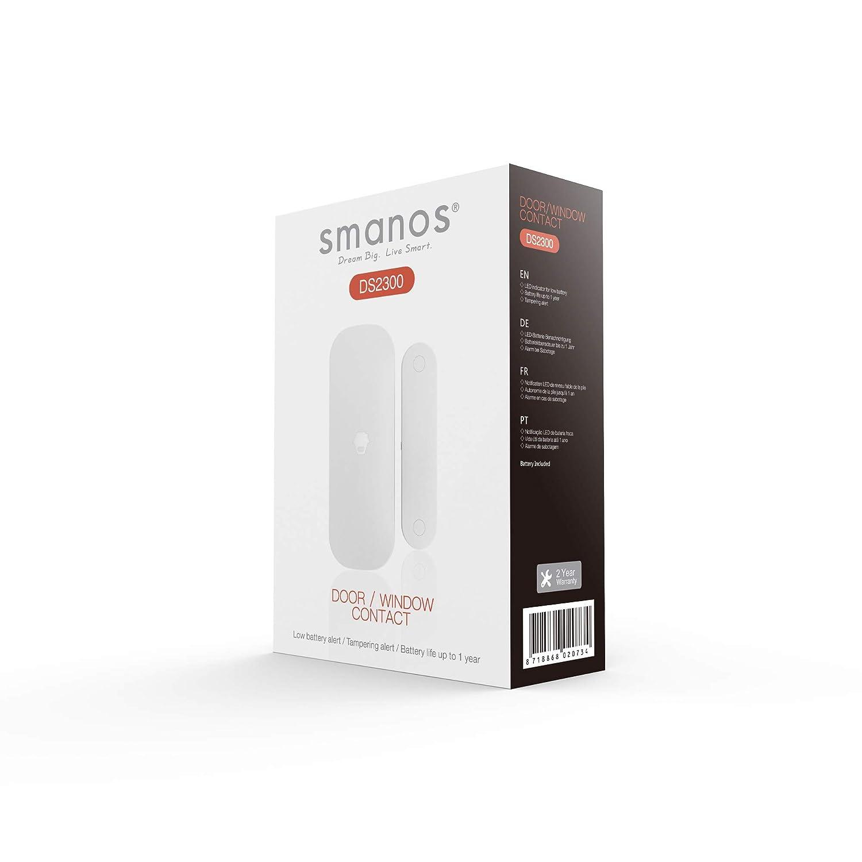 Funciona con Hub Seleccionados Smanos Sistemas de Seguridad para el Hogar Protecci/ón Antirrobo Incluida Blanco SMANOS DS2300 Sensor para Puertas y Ventanas Wireless Sensores de Movimiento