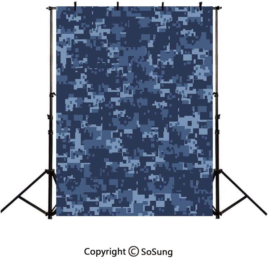 9x16Ft Vinyl Camo Backdrop for Photography,Militaristic Digital Effected Armed Forces Pattern Grunge Fashion in Blue Background Newborn Baby Photoshoot Portrait Studio Props Birthday Party Banner