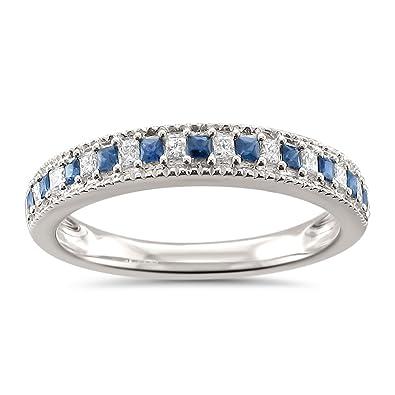 Amazoncom 14k White Gold Princesscut Diamond Blue Sapphire