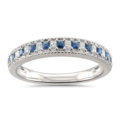 15151f37e4f25 La4ve Diamonds 14k White Gold Princess-Cut Diamond & Blue Sapphire Milgrain  Wedding Band Ring (1/3 cttw, HI, SI2-I1)