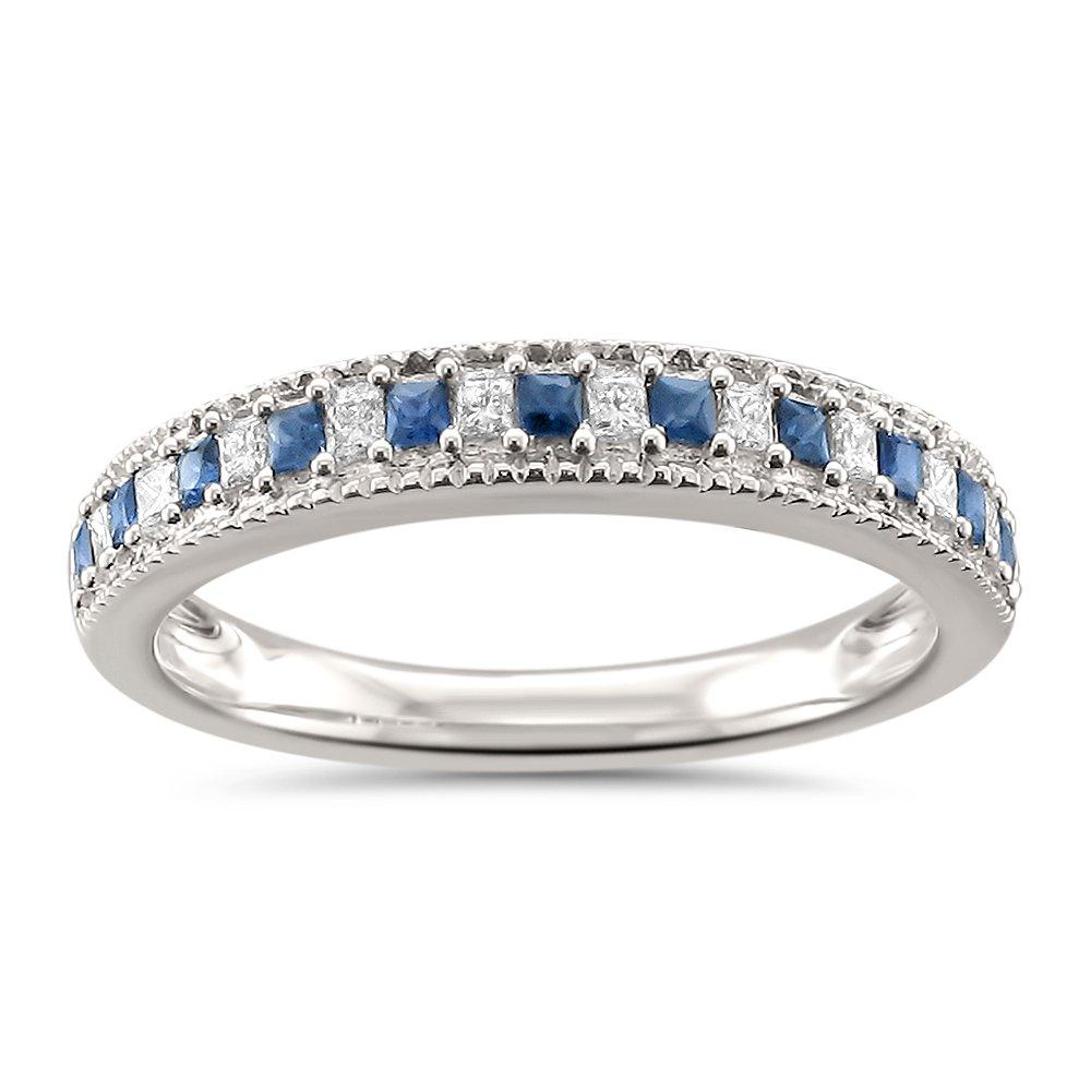 14k White Gold Princess-cut Diamond & Blue Sapphire Milgrain Wedding Band Ring (1/3 cttw, H-I, SI2-I1), Size 5.5