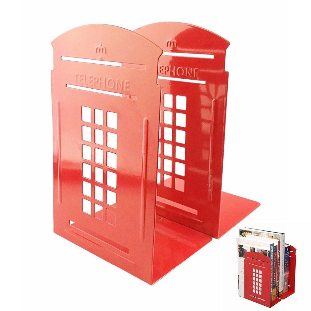 TJW Londoner Telefonzelle, robust, für Schlafzimmer, Büro oder Schule, Vintage, Metall, 2Stück, rot für Schlafzimmer Büro oder Schule 2Stück TUEU