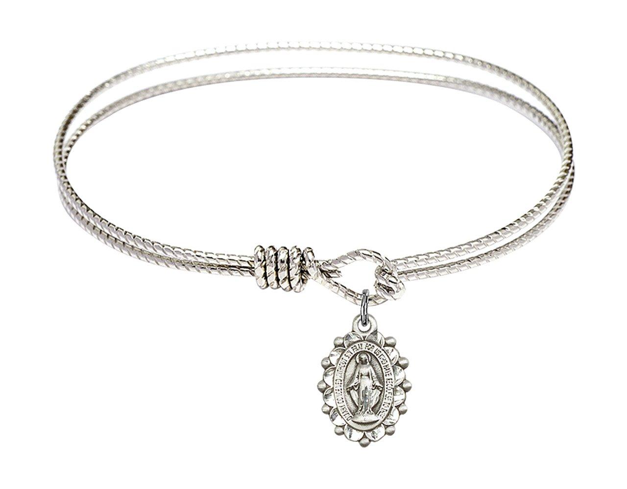7 1/4 inch Oval Eye Hook Bangle Bracelet w/Miraculous Medal in Sterling Silver