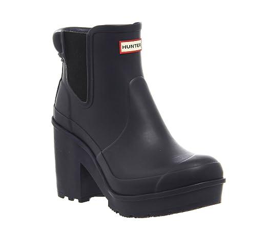 Womens Hunter Original Block Heel Chelsea Snow Waterproof Ankle Boots