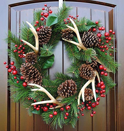 Rustic Christmas Wreath with Antlers, Red Berries, Pine Cones, Magnolia Leaves and Pine Branches in 22