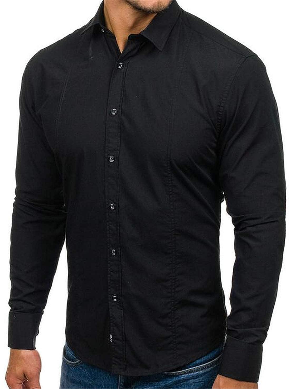 XiaoTianXinMen XTX Mens Casual Regular Fit Cotton Long Sleeve Button Up Solid Dress Shirts