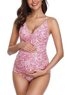 06fa8b35c MiYang Women Maternity Swimsuit Flower Printed Criss Back One Piece  Pregnant Beachwear