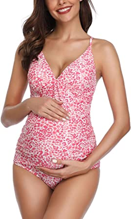 Summer Mae Cross Back Maternity Swimsuit Flower Printed One Piece