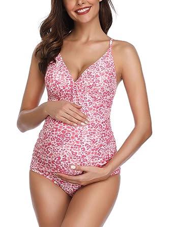 1c1c3d28db18c MiYang Women Maternity Swimsuit Flower Printed Criss Back One Piece  Pregnant Beachwear Pink S