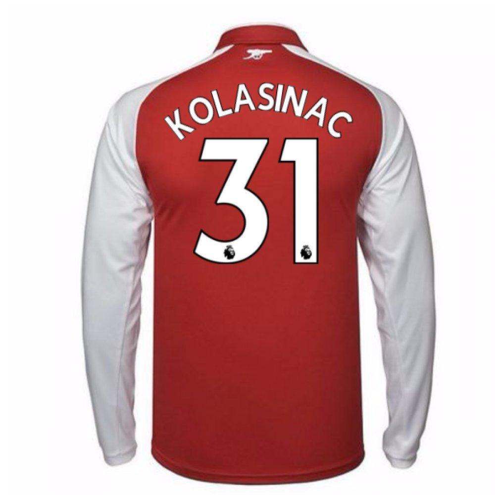 2017-18 Arsenal Home Long Sleeve Shirt Kids (Kolasinac 31) B077PRDQ8MRed Large Boys 30-32\