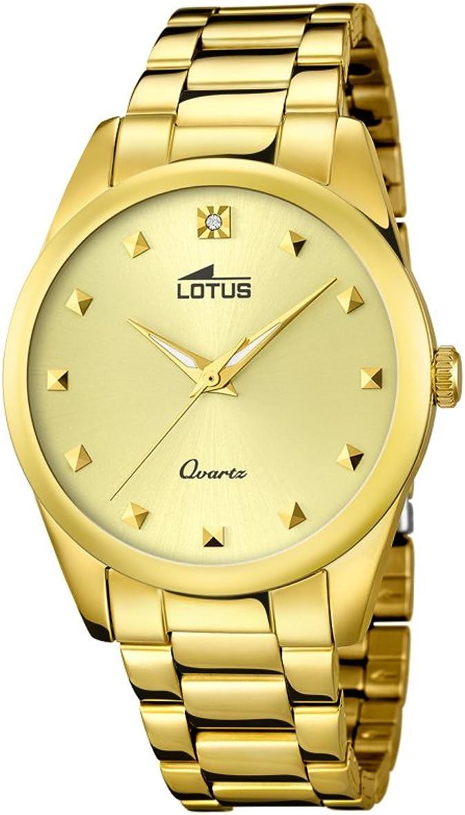 Lotus 18143/2 - Reloj de Cuarzo para Mujer, con Esfera analógica Dorada y Correa de Acero Inoxidable chapada en Oro