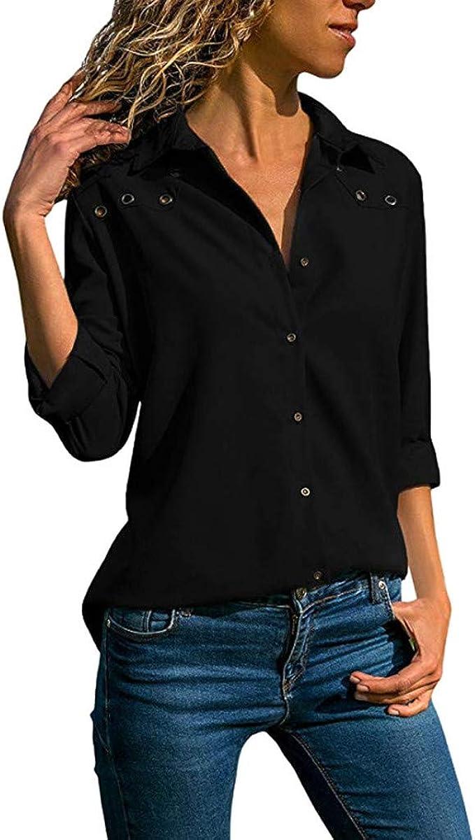 MURTIAL Blusa de Mujer de Color Puro con Botones de Manga ...