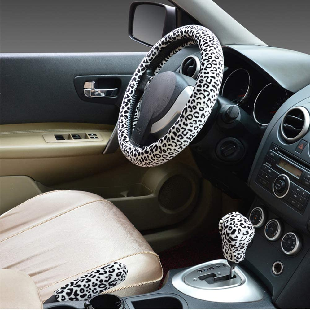 Leopard Print Car Steering Wheel Hand Brake Shifter Cover Set Beige Yellow Eamoney 3Pcs 38cm Winter Car Steering Wheel Cover