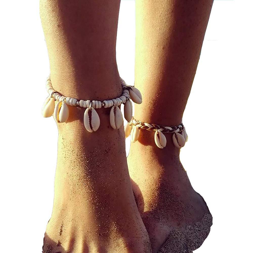 Boho Shell Anklet Foot Jewelry Adjustable Ankle Bracelet For Women Summer Barefoot Beach Anklet (Shell+Beads) Yakiki H038-40