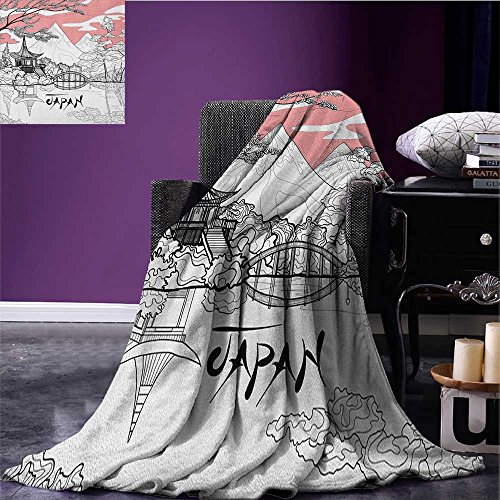 Asian park blanket Nostalgic Pagoda with Multiple Eaves in Retro Style Religious Place Meditation soft blanket Pink White Black size:51