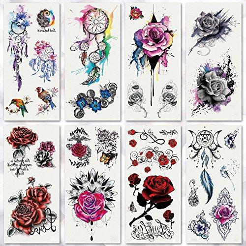 Biker Girl Halloween Makeup (Leoars 8 Sheets Sexy Temporary Tattoo Bright Rose Dreamcatcher Body Tattoos Sticker for Women Men Girl Dating Makeup Waterproof Body Art Fake Tattoos,)
