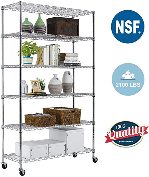 6 Tier Wire Shelving Unit With Wheels Metal Shelf Organizer Heavy Duty Storage Unit Wire Rack Nsf Certification Commercial Grade Utility For Bathroom