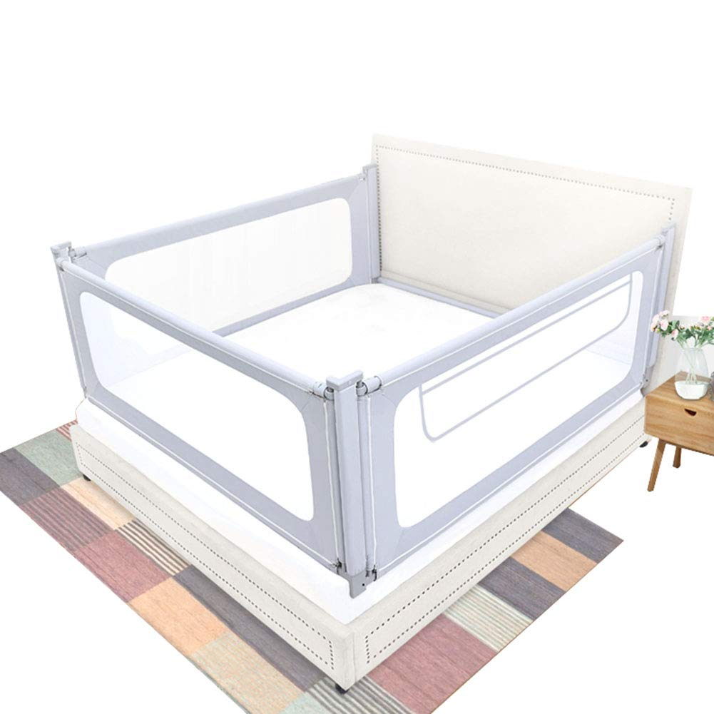 Baby 3-Side Safety Bedrail, 79cm High Bed Rails for Toddlers Portable Bed Rail Bumper for Infant, Sleep Mesh Fence- Grey Color (Color : 1.8+2+2m) by Baby Bed Rail (Image #1)