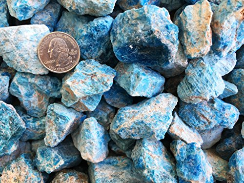 One Pound Natural Rough Blue Apatite - Crystal Tumbling, Cutting, Cabbing