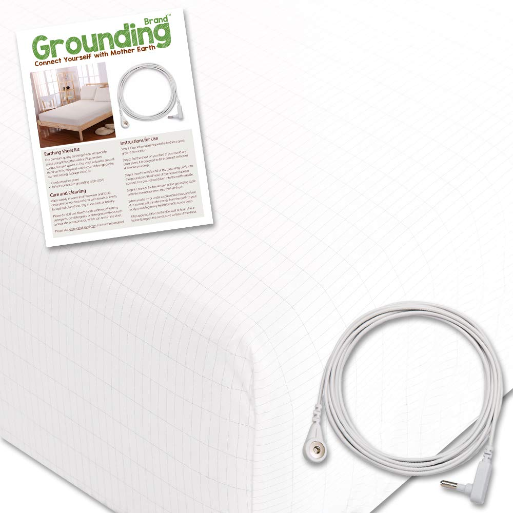 Grounding Brand Fitted Queen Size Sheet with Earth Connection Cable, 400TC Conductive Mat with Pure Silver Thread for Better Sleep and Healthy Earth Energy, White by Grounding Brand