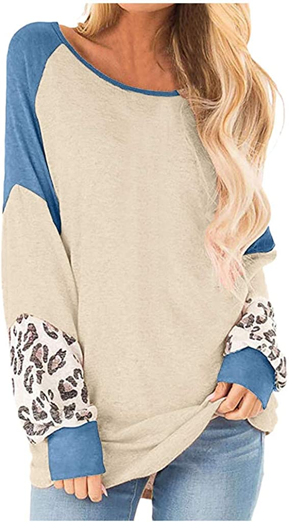 Women Leopard Print Long Sleeve Splicing Striped Casual Tops Patchwork Pullovers Shirts for Women