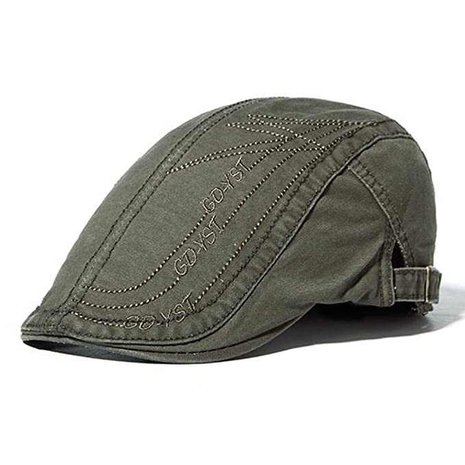 1d98c010fff KANWEI Mens Letter Embroidery Cotton Berets Hats Buckle Adjustable Sport Visor  Caps (Army Green)