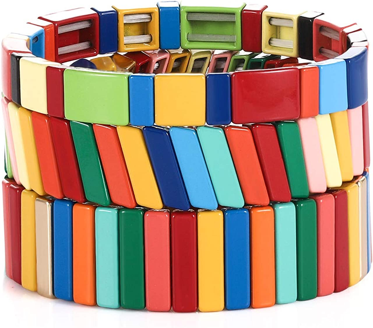 YAHPERN Tile Enamel Bracelets Rainbow Geometric Tila Beads Bracelets Bohemian Colorblock Stretch Bracelet Stackable Strand Bracelet for Woman Man Gift