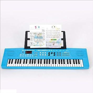 Teclado para niños 61 Teclas Piano de Juguete Piano eléctrico Soporte multifunción Piano de Dibujos Animados Rosa estándar (Color : Azul) : Amazon.es: ...