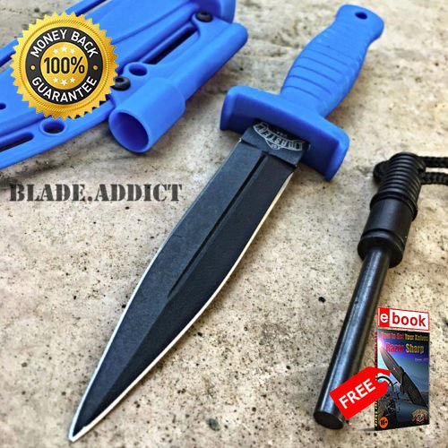 7'' Double Edge Military Tactical Hunting Dagger Boot Neck Knife Fire Starter L For Hunting Tactical Camping Cosplay + eBOOK by MOON ()