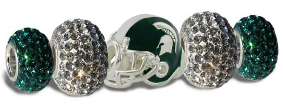 Michigan State Charms | Michigan State Spartan Football Helmet Charm with Green and Clear Crystal Charms | Officially Licensed Michigan State University Jewelry | MSU Jewelry | Stainless Steel