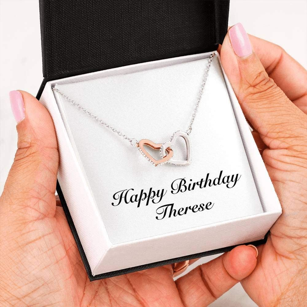 Happy Birthday Therese Interlocking Hearts Necklace Personalized Name Gifts