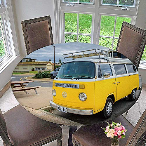 Luxury Round Table Cloth for Home use Adelaide, Australia August, Classic Yellow Volkswagen Transporteron for Buffet Table, Holiday Dinner 50
