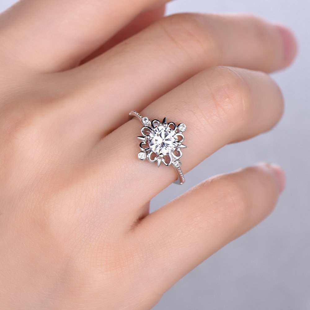 Amazon.com: Brilliant Cut Simulated Diamond Engagement Ring Filigree ...
