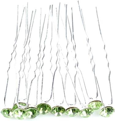 5 /Épingles cheveux mariage cristal vert clair