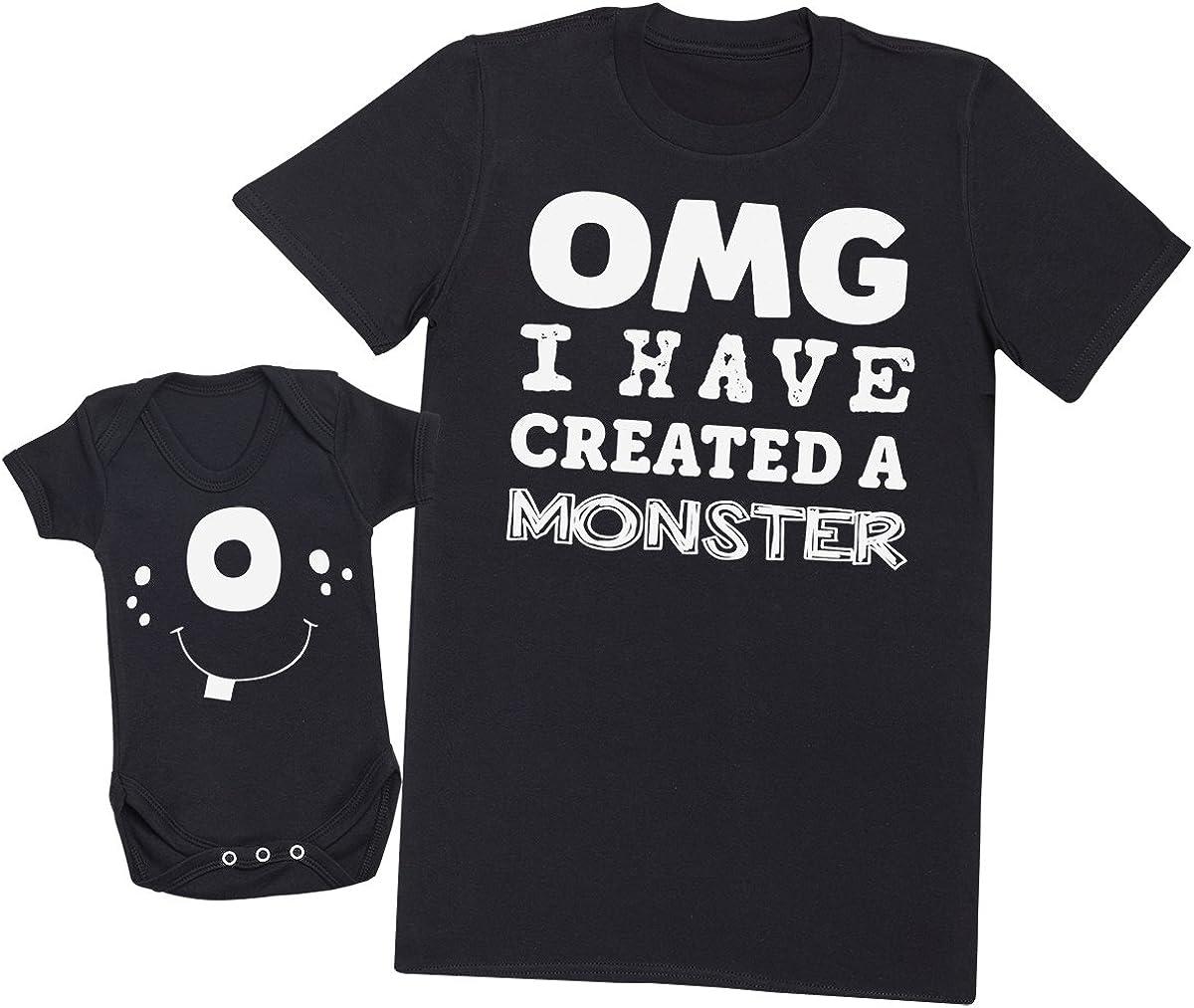 OMG I've Created a Blanco Monster! - regalo para padres y bebés en un cuerpo para bebés y una camiseta de hombre a juego