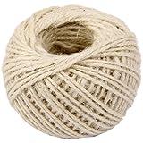 50m Corde de Chanvre Ficelle Cordon pour Emballage Cadeau Artisanat DIY - Blanc