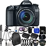 Canon EOS 70D DSLR Camera with 18-135mm STM f/3.5-5.6 Lens Kit. Includes: Wide Angle & Telephoto Lenses, 3 Piece Filter Kit (UV-CPL-FLD), 32GB Memory Card, 2 High Capacity Replacement Batteries, Deluxe Backpack, Tripod & More