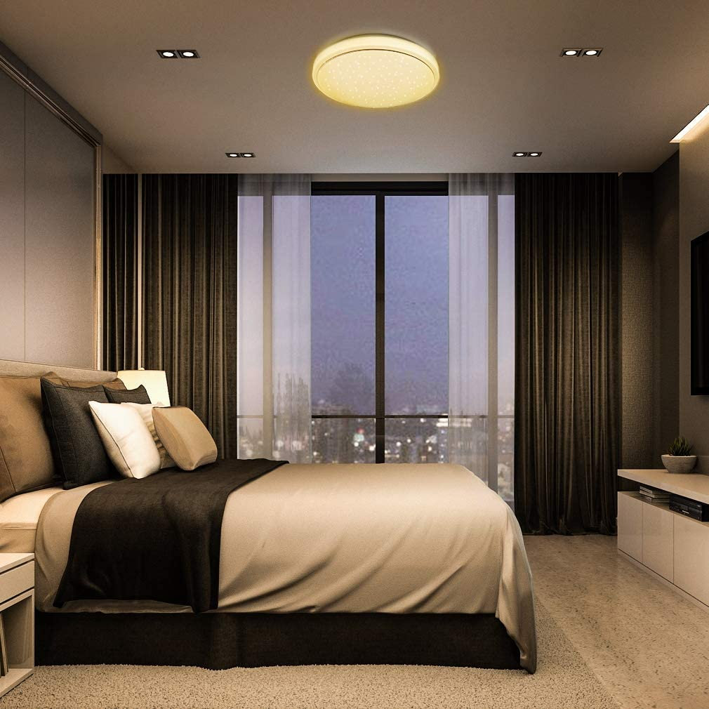 LED Deckenleuchte Dimmbar Sternenhimmel 18W, Tonffi LED Deckenlampe Dimmbar  mit Fernbedienung Einstellbar Farbtemperaturen und Helligkeit für