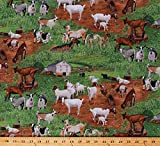 Cotton Goats Kids in Pastures Farm Animals Barns Country Green Cotton Fabric Print by The Yard (D687.47)