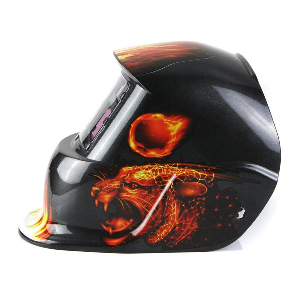 Masque?de?soudure? Flamme Leopard TOOGOO R Utiliser Energie Solaire pour Recharge Protection de Visage Masque De Soudure Cagoule Casque Soudage Solaire Automatique