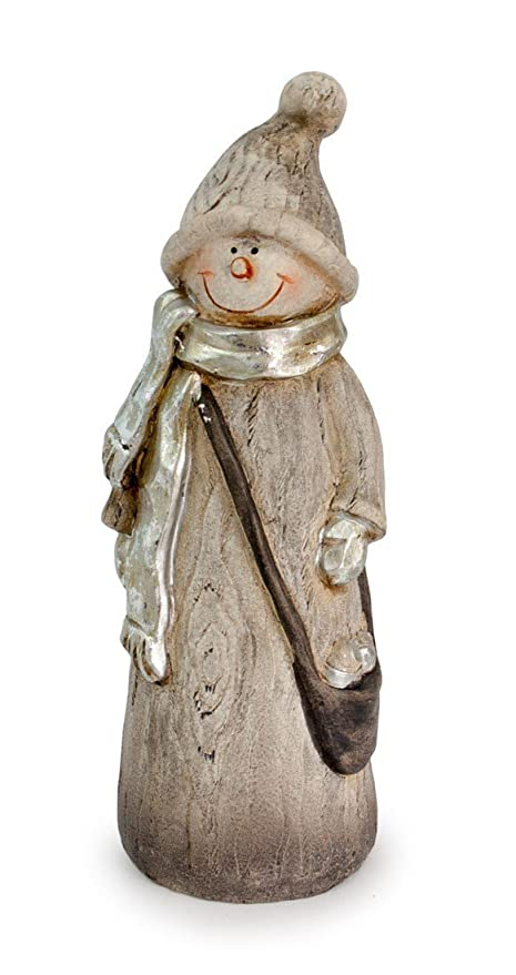decorative figure snowman made from polystone in wood look grey silver 20 x 77 cm