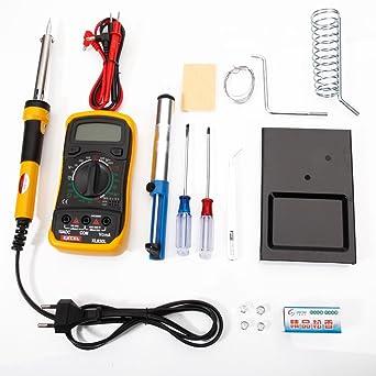 Vamery soldador eléctrico soldadura electrónica 10 en 1 Temperatura ajustable Kit soldadura con multímetro, estaño