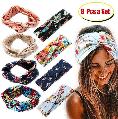 Hair Accessory Wrap (FIBO STEEL 8 Pcs Headbands for Women Girls Wide Boho Flower Knotted Yoga Head Wrap Hair Band)