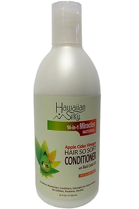 Hawaiian Silky Apple sidra vinagre Acondicionador de Cabello, suave con negro aceite de ricino