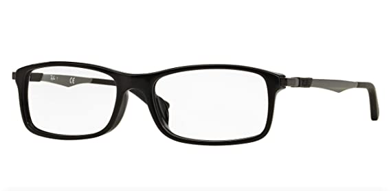acac9eb5b4 Amazon.com: Ray-Ban Men's RX7017F Eyeglasses Shiny Black 56mm: Clothing